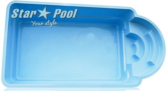 Чаша для бассейна STARPOOL Della 6,30x3,25x1,55 м